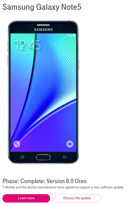 T-Mobile подтвердил Android Oreo для Samsung Galaxy S6 и Note 5
