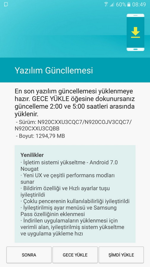 Samsung Galaxy Note 5 получает Android Nougat